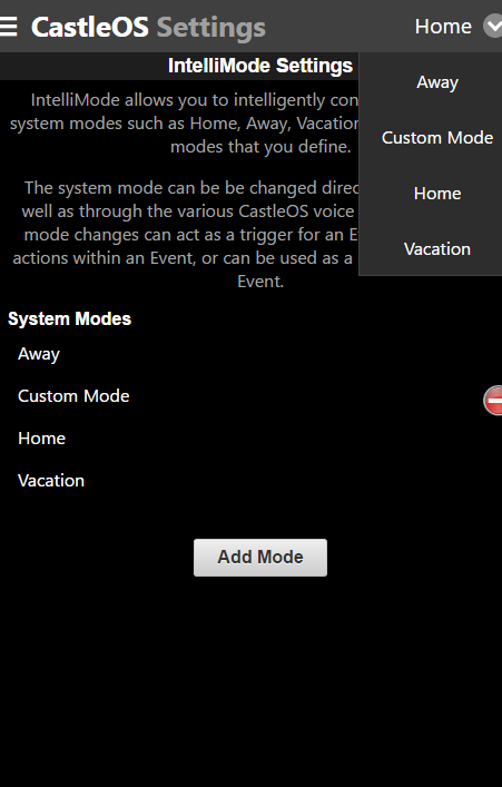 CastleOS IntelliMode System Modes